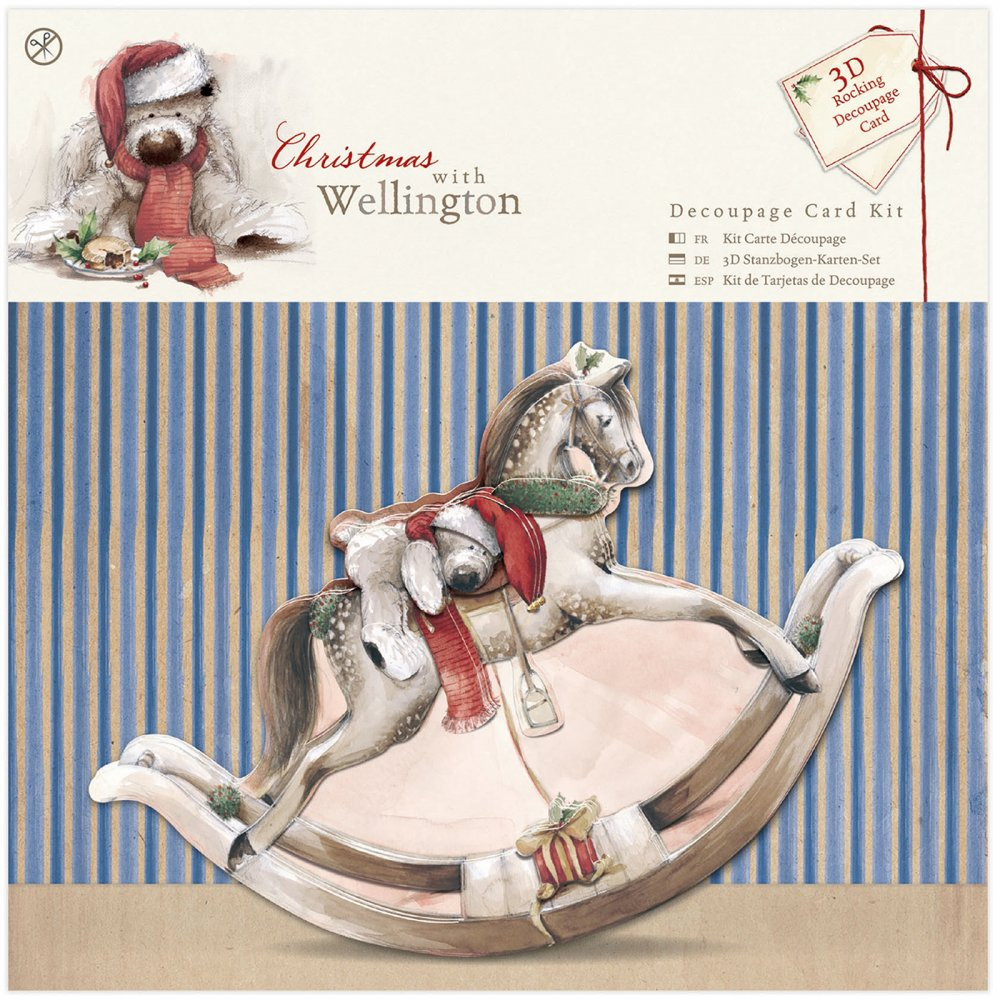 Wellington Christmas Rocking Horse Decoupage Card Kit