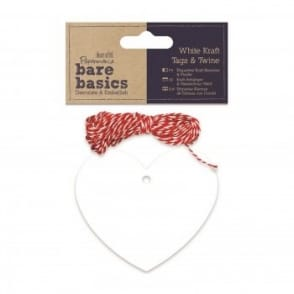 White Kraft Tags & Twine - Hearts