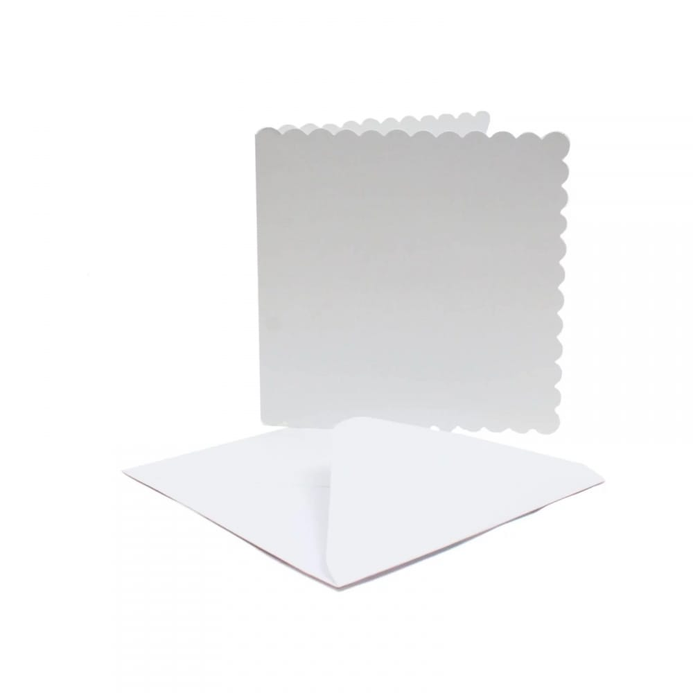 """white scalloped blank cards  envelope pack of 50 6"""" x 6"""