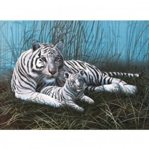 White Tigers in the Mist Large Paint By Numbers