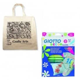 Zentangle Canvas Tote Bag & Fabric Pens Bundle